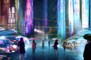Japan Street Market Digital Art 4k Wallpaper