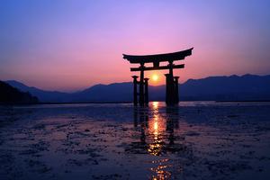 Japan Sunset Purple Evening 4k Wallpaper
