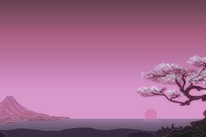 Japenese Mountains Sunset Trees Artwork