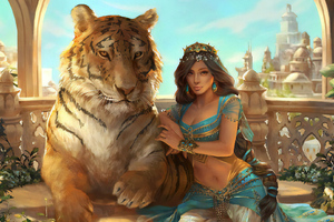 Jasmine Aladdin With Lion Wallpaper