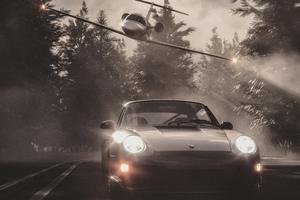 Jet Chasing Porsche Wallpaper