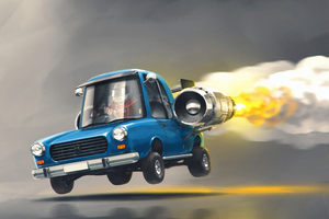 Jet Powered Car Wallpaper