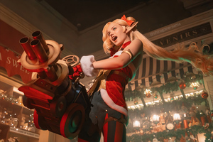 Jinx League Of Legends Christmas Cosplay 4k Wallpaper
