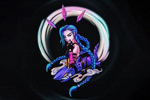 Jinx League Of Legends Dark Minimal 5k Wallpaper