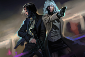 John Wick And Atomic Blonde Artwork