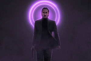 John Wick Neon With Gun 5k Wallpaper