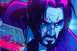 John Wick Neonic Art Wallpaper