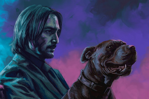 John Wick With Dog Art Wallpaper