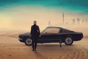 John Wick With Mustang Wallpaper