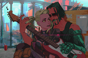 Johnny Silverhand In Love Playing Guitar Cyberpunk 2077 Wallpaper