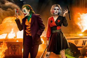 Joker And Harley At Crime Scene 5k Wallpaper
