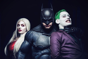 Joker Batman And Harley Quinn Cosplay 4k Wallpaper