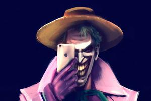 Joker Clicking Photos With Iphone Wallpaper