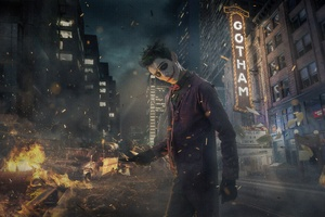 Joker Cosplay Gotham Burning Wallpaper