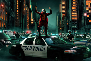 Joker Dancing On Cop Car 4k Wallpaper