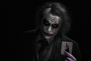 Joker Heath Ledger With Card 5k Wallpaper