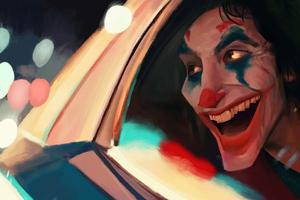 Joker In Police Car Smiling