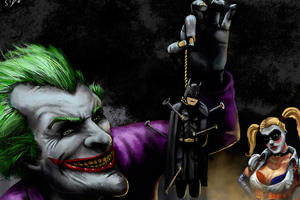 Joker Little Batman Hanging Wallpaper