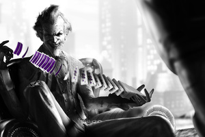 Joker Playing With Cards Monochrome Wallpaper