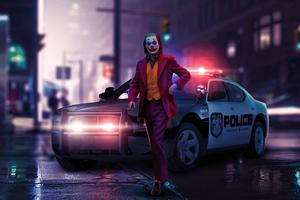 Joker Police Car 4k