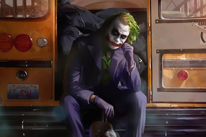 Joker Sitting Beside Bus Door 4k Wallpaper