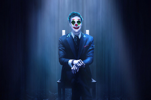 Joker Sitting On Chair Wallpaper