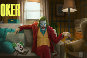 Joker Sitting On Sofa Wallpaper