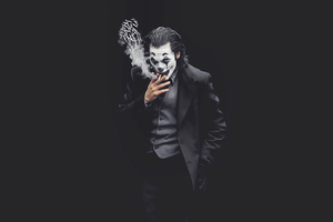 Joker Smoking Monochrome 4k