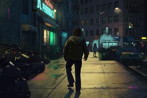 Joker Walking Alone City Night Wallpaper