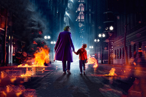 Joker Walking With Kid Wallpaper