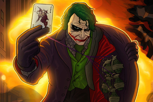 Joker With Bomb And Card