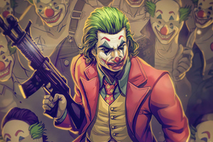 Joker With Gotham Clowns
