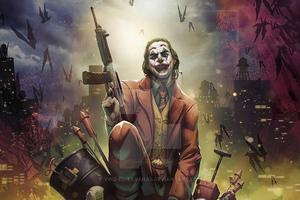 Joker With Gun Art4k Wallpaper