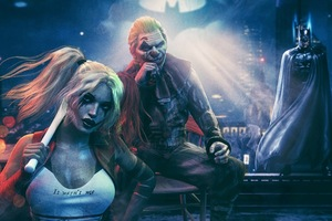 Joker With Harley Quinn And Batman Wallpaper