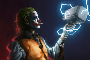 Joker With Thor Hammer 4k Wallpaper