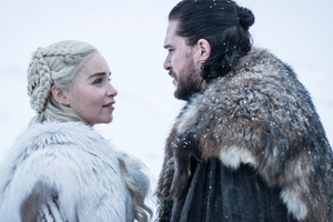Jon Snow And Daenerys Targaryen In Game Of Thrones Season 8 Wallpaper