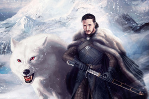 Jon Snow And Ghost 4k Wallpaper