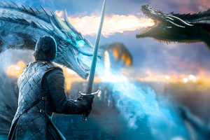 Jon Snow Game Of Thrones Dragon Wallpaper