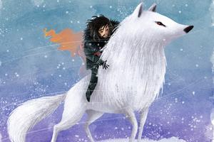 Jon Snow Wolf Digital Art