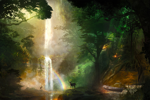 Jungle Deer Boat Forest Landscape Nature Artwork Wallpaper