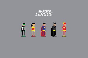 Justice League 8 Bit Wallpaper