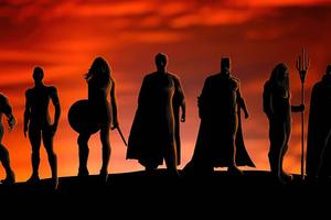 Justice League Heroes Silhouette 5k Wallpaper