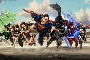 Justice League Superheroes Art Wallpaper