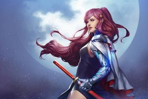 Katana Samurai Girl 4k Wallpaper