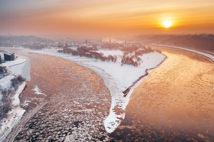 Kaunas River City Winter Snow Sunlight