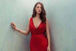 Kaya Scodelario In Red Dress 4k Wallpaper