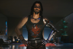 Keanu Reeves As Johnny Silverhand Cyberpunk 2077 Wallpaper