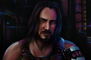 Keanu Reeves In Cyberpunk 2077 Art Wallpaper