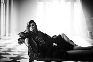 Keira Knightley Boo George For Harpers Bazaar Monochrome 4k Wallpaper