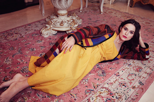Keira Knightley Yellow Dress Lying Down 4k Wallpaper
